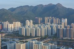 Aerial view of Hong Kong City royalty free stock images