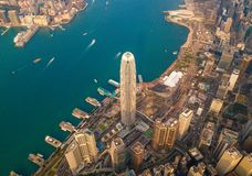 Aerial view of Hong Kong Downtown, China. Financial district and business centers in smart city in Asia. Top view of skyscraper. And high-rise buildings at stock photo