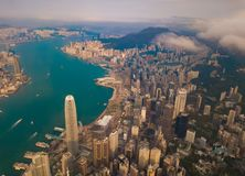 Aerial view of Hong Kong Downtown, China. Financial district and business centers in smart city in Asia. Top view of skyscraper. And high-rise buildings at stock image