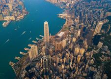 Aerial view of Hong Kong Downtown, China. Financial district and business centers in smart city in Asia. Top view of skyscraper. And high-rise buildings at royalty free stock photography