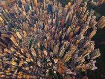 Aerial view of Hong Kong Downtown, China. Financial district and business centers in smart city in Asia. Top view of skyscraper. And high-rise buildings at royalty free stock photo