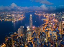 Aerial view of Hong Kong Downtown. Financial district and business centers in smart city, technology concept. Top view. Of skyscraper and high-rise buildings at stock images