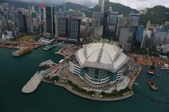 Aerial View of Hong Kong Exhibition Centre. At Wan Chai.  It is one of the largest exhibition centre in Hong Kong.  Many international exhibition and conference Royalty Free Stock Photography