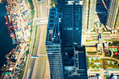Aerial view of Hong Kong. Futuristic cityscape with skyscrapers Royalty Free Stock Photos
