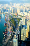 Aerial view of Hong Kong. Futuristic cityscape with skyscrapers Stock Image