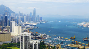 Aerial view of Hong Kong harbor Stock Images