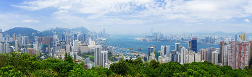 Aerial view of Hong Kong harbor Stock Image