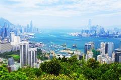 Aerial view of Hong Kong harbor Royalty Free Stock Image