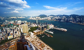 Aerial view of Hong Kong harbor Royalty Free Stock Images