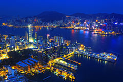 Aerial view of Hong Kong harbor Royalty Free Stock Photo