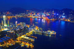 Aerial view of Hong Kong harbor Stock Photo