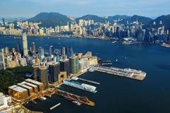 Aerial view of Hong Kong harbor Royalty Free Stock Photos