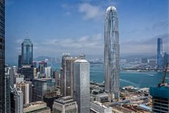 Aerial view of Hong Kong Island skyscrappers looking across to Kowloon royalty free stock images