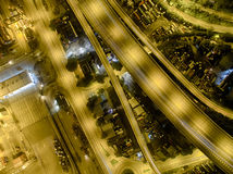 Aerial view of Hong Kong Night Scene, Kwai Chung in golden color Stock Photos