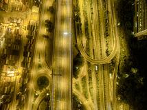 Aerial view of Hong Kong Night Scene, Kwai Chung in golden color Royalty Free Stock Photography