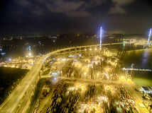 Aerial view of Hong Kong Night Scene, Kwai Chung, Victoria Harbour, Stonecutters' Bridge Stock Photography