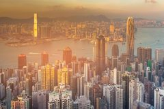 Aerial view Hong Kong office building business downtown Royalty Free Stock Image