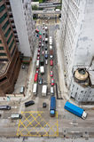 Aerial view of hong kong traffic. With different vehicles on the road Royalty Free Stock Photo