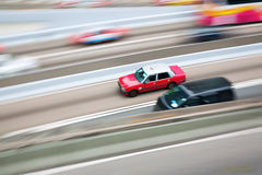 Aerial view of Hong Kong traffic. With a typical Hong Kong taxi in motion blur Stock Photography