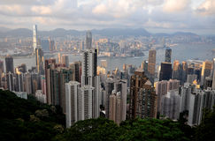The aerial view of Hongkong cityscape Stock Image