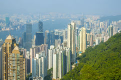 Aerial view of Hongkong harbour Stock Photography