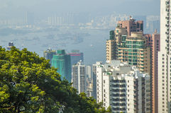 Aerial view of Hongkong harbour Royalty Free Stock Photography