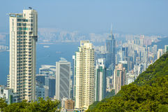 Aerial view of Hongkong harbour Royalty Free Stock Image