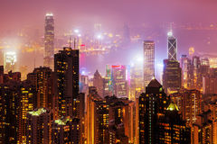 Aerial view of Hongkong at night. Picture of an aerial view of Hongkong at night royalty free stock images