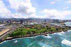 Aerial View of Honolulu. An aerial view of Kakaako Park in Honolulu, Hawaii Royalty Free Stock Photography