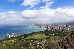 Aerial view of Honolulu city, Oahu Royalty Free Stock Photography