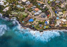 Aerial view of Waikiki Beach in Honolulu Hawaii. Aerial view Honolulu coastline in Hawaii from a helicopter Stock Photography