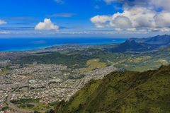 Aerial view of Waikiki Beach in Honolulu Hawaii. Aerial view Honolulu coastline in Hawaii from a helicopter Royalty Free Stock Photos