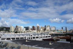Aerial view of the Honolulu Port and downtown skyline Royalty Free Stock Photography