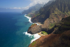 Aerial view of Honopu Arch, Na Pali Coast, Kauai, Hawaii royalty free stock image
