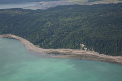 Aerial View of Hood Canal. Aerial perspective of a southern beach along Hood Canal, Olympic Peninsula, Washington State stock photo