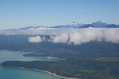Aerial View of Hood Canal and Olympic Mountains. Aerial perspective of Hood Canal, with Olympic Mountain Range on the Olympic Peninsula, Washington State Royalty Free Stock Photos