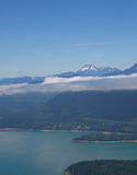 Aerial View of Hood Canal and Olympic Mountains. Aerial perspective of Hood Canal, with Olympic Mountain Range on the Olympic Peninsula, Washington State Stock Photos
