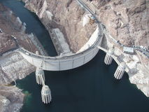 Aerial View of Hoover Dam. Aerial View of the beautiful Hoover Dam. Taken from a helicopter royalty free stock photos