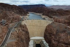 Aerial view of the Hoover dam stock photography