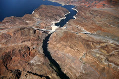 Aerial view of Hoover Dam Stock Photos