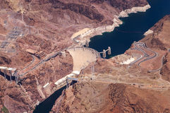 Aerial view of Hoover Dam and the Colorado River Stock Photo