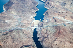 Aerial view of Hoover Dam and the Colorado River Bridge Royalty Free Stock Photography