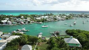 Aerial view of Hopetown, Bahamas stock video footage