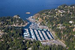 Aerial view of Horseshoe Bay. Aerial view of Marina and Residential homes by the ocean shore. Taken in Horseshoe Bay, West Vancouver, BC, Canada royalty free stock images