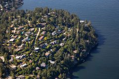 Aerial view of Horseshoe Bay. Aerial view of Residential homes by the ocean shore. Taken in Horseshoe Bay, West Vancouver, BC, Canada royalty free stock photo