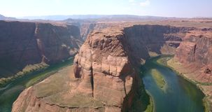 Aerial View of Horseshoe Bend in Arizona. Aerial view of the Horseshoe Bend - famous meander on river Colorado near the town of Page. Arizona, USA stock video footage