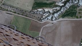 Basket View From Hot Air Balloon While Flying Over Cappadocia royalty free stock images