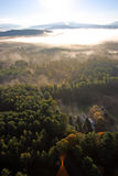 An aerial view of a hot air balloon floating over the Vermont country side Stock Photography