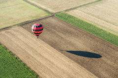 Aerial view of an hot air balloon Royalty Free Stock Image