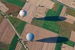Aerial view of hot air balloons Stock Photography
